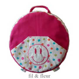 sac rose pois smiley