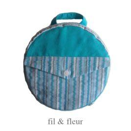 sac a dos enfant bleu turquoise et bayadere bleu-gris