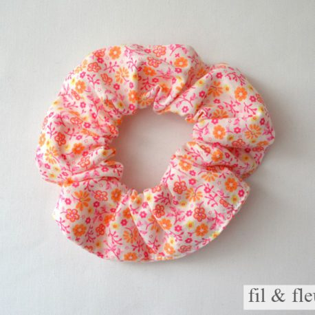 chouchou fleurs rose orange