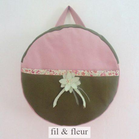 sac à dos enfant rose poudré et kaki
