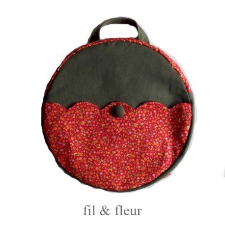 sac kaki rouge fleuri