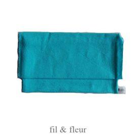 pochette serviette bleu turquoise
