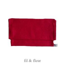 pochette serviette rouge framboise