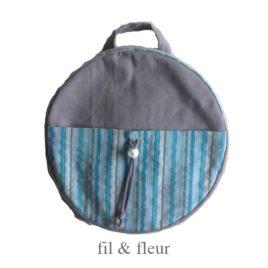 sac à dos enfant gris et bayadère bleu-gris