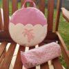 sac à dos enfant rose avec des palmiers