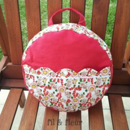 sac rouge fleurs