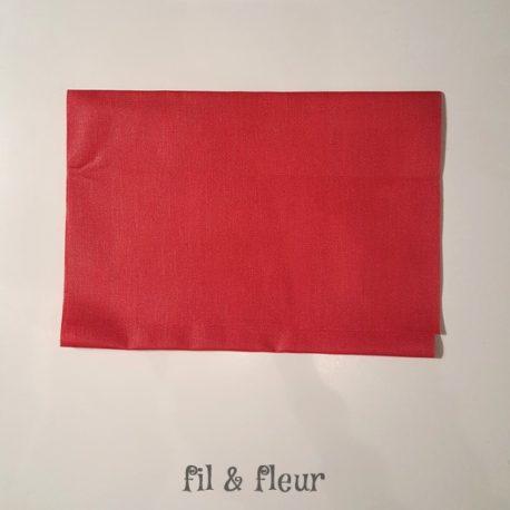 pochette serviette lin enduit rouge geranium