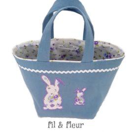 panier paques bleu gris lapins