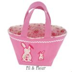 panier paques rose lapins fleurs